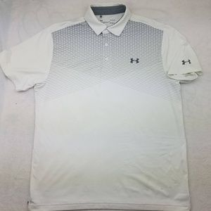 Under Armour White Gray Golf Polo Large